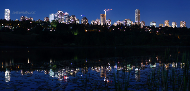 Metrotown at night from Deer lake - Russell Thom